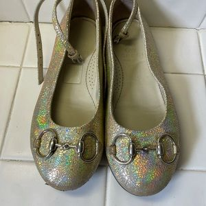 Gucci iridescent shimmer ankle strap ballet flats